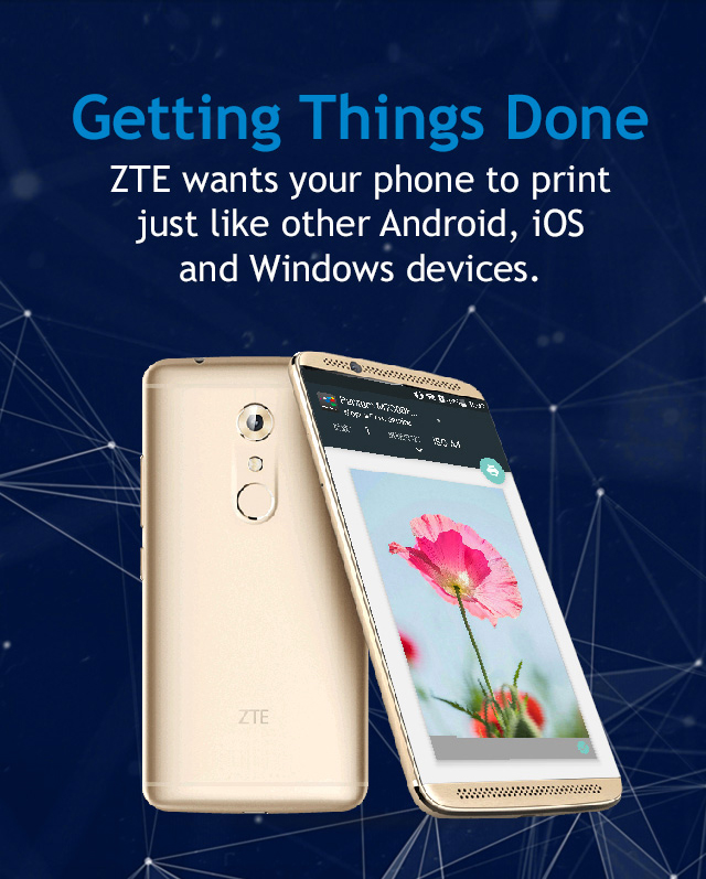 ZTE includes the Mopria Print Service as a system app in select phone models.